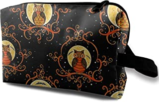 Painted Scroll Owls Travel Makeup Cute Cosmetic Case Organizer Portable Storage Bag for Women