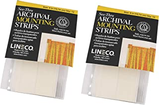 Lineco See-Thru Mounting Strips, Archival Quality Polyester Acid-Free Hingeless Conservation, 4 Inches, Safe for Photos Documents Fine Prints Artwork Craft DIY and More (Pack of 12)