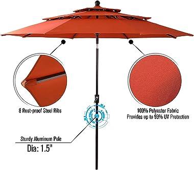 """Sophia & William Patio Dining Set 6 Pieces Furniture Set with 10 ft 3 Tier Umbrella Auto-tilt, 1 Square 37""""x 37"""""""