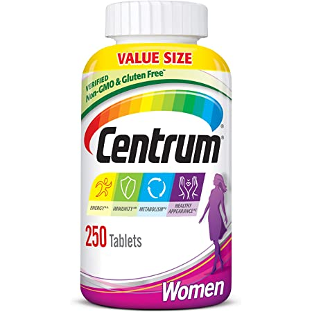 Centrum Multivitamin for Women, Multivitamin/Multimineral Supplement with Iron, Vitamins D3, B and Antioxidants - 250 Count