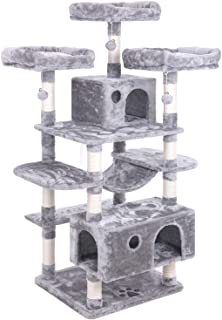 BEWISHOME Large Cat Tree Condo with Sisal Scratching Posts Perches Houses Hammock, Cat Tower Furniture Kitty Activity Cent...