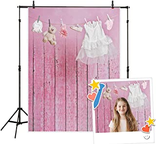 Allenjoy 5x7ft Pink Wooden Girl Photography Backdrop Background White Doll Skirt Decoration Studio Photo Booth Prop for Newborn Baby Shower Kids