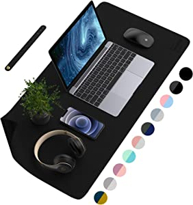 AFRITEE Desk Pad Desk Protector Mat - Dual Side PU Leather Desk Mat Large Mouse Pad, Writing Mat Waterproof Desk Cover Organizers Office Home Table Gaming Decor (Black/Black, 23.6