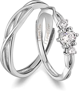 I Love You His & Hers Matching Wedding Rings Adjustable CZ S925 Sterling Silver Rings for Couple