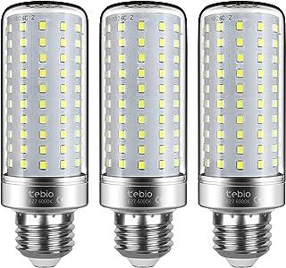 Tebio LED Plata Maíz Bombillas 25W E27 6000K Blanco Frío LED Candelabros bombillas, 200W Bombilla Incandescente Equivalente, 2500LM, LED vela Bombillas No regulables, 3 Packs