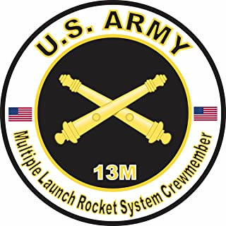 Military Vet Shop U.S. Army MOS 13M Multiple Launch Rocket System Crewmember Window Bumper Sticker Decal 3.8