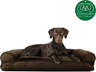 Furhaven Pet Dog Bed | Ultra Plush Faux Fur & Suede Pillow Cushion Traditional Sofa-Style Living Room Couch Pet Bed w/ Removable Cover for Dogs & Cats, Espresso, Large