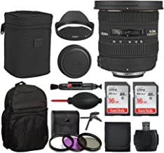 Sigma 10-20mm f/3.5 EX DC HSM Autofocus Zoom Lens for Canon Cameras + Deluxe Backpack + 32GB Memory Card + Tabletop/Handgrip Tripod + USB Card Reader + Card Wallet + Dust Blower + Lens Cleaning Pen