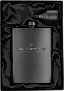 Matte Black Flask + Black Funnel Gift Set – 8 oz. Engraved WELL DESERVED. Classy..