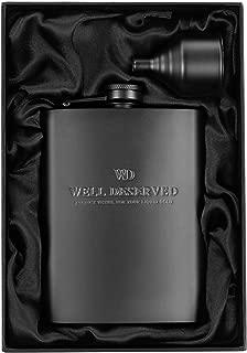 Matte Black Flask + Black Funnel Gift Set - 8 oz. Engraved WELL DESERVED. Classy Packaging. Stainless Steel Hip Flask For Liquor For Men. Slim Metal Back Pocket Alcohol Drinking Flask. Whiskey Flasks