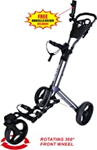 Qwik-Fold 360 Swivel 3 Wheel Push Pull Golf CART - 360 Rotating Front Wheel - ONE Second to Open & Close!