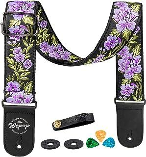 Sangle de Guitare Fleur Rose en Coton Vintage Tisse pour Basse Guitare Acoustique Électrique Accessoires, Médiators (violet)