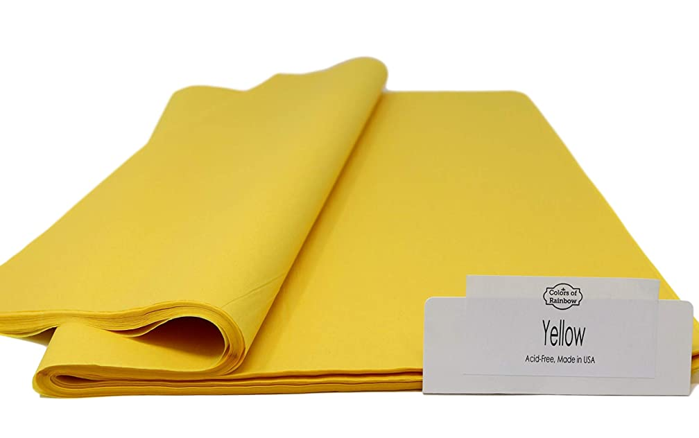 "Yellow - 96 Sheets - Gift Wrapping Tissue Paper 15"" x 20"" - Made in United States by Colors of Rainbow?"