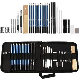 Lypumso Crayons de Dessin, 33 Pcs Sets avec Sac Inclus Crayons D'esquisse, Crayons Fusain, Carbone Graphitique, Outils et ...