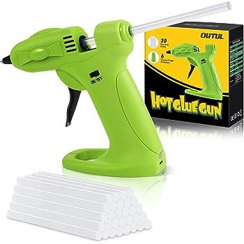 OUTUL Hot Melt Glue Gun, 2600mAh Lithium Hot Glue Guns with 30pcs Mini Glue Sticks,Cordless Use USB Rechargeable Melting Glue Gun Kit, for Kids DIY Arts, Crafts Projects with 6Pcs Finger Protectors