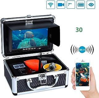 魚群探知機 ポータブル 魚探 7インチ高精細ビデオ魚群探知機 WIFIデータ伝送漁師 IP68防水設計カメラ 釣り愛好家を助ける