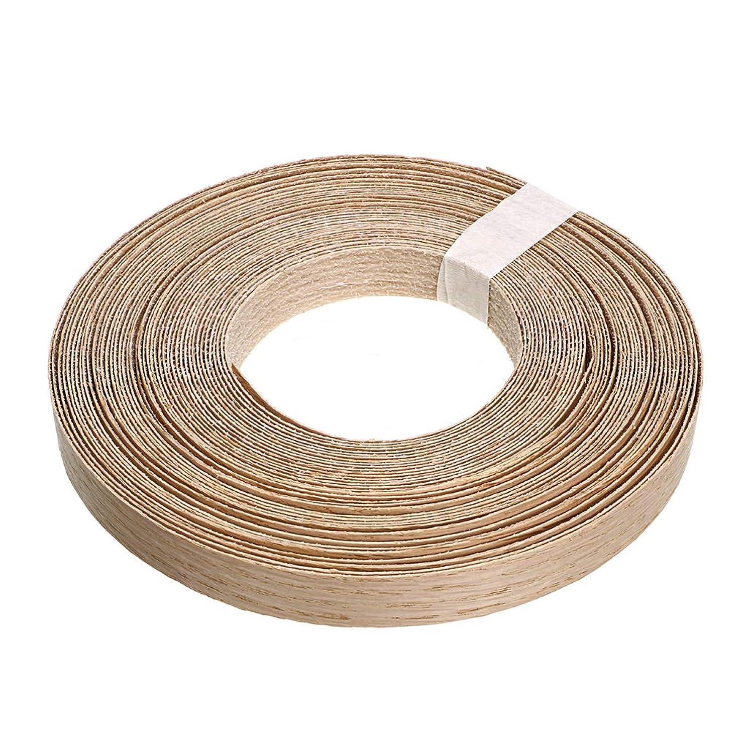 Skelang Red Oak Wood Veneer Edge Banding Preglued Iron-On with Hot Melt Adhesive Edgebanding Flexible Wood Tape (7/8