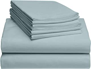 "Best LuxClub 6 PC Sheet Set Bamboo Sheets Deep Pockets 18"" Eco Friendly Wrinkle Free Sheets Hypoallergenic Anti-Bacteria Machine Washable Hotel Bedding Silky Soft - Light Teal Queen Reviews"