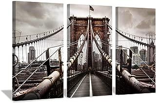 Cityscape Picture Urban Landscape Art: Brooklyn Bridge NYC Print on Canvas Decor
