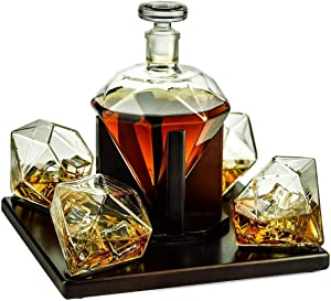 The Wine Savant Diamond Whiskey and Wine Decanter, Great Gift! 750ml With 4 Diamond Glasses and Beautiful Mahogany Wooden Holder Liquor, Scotch, Rum, Bourbon, Vodka, Tequila Decanter, Gifts for Dad