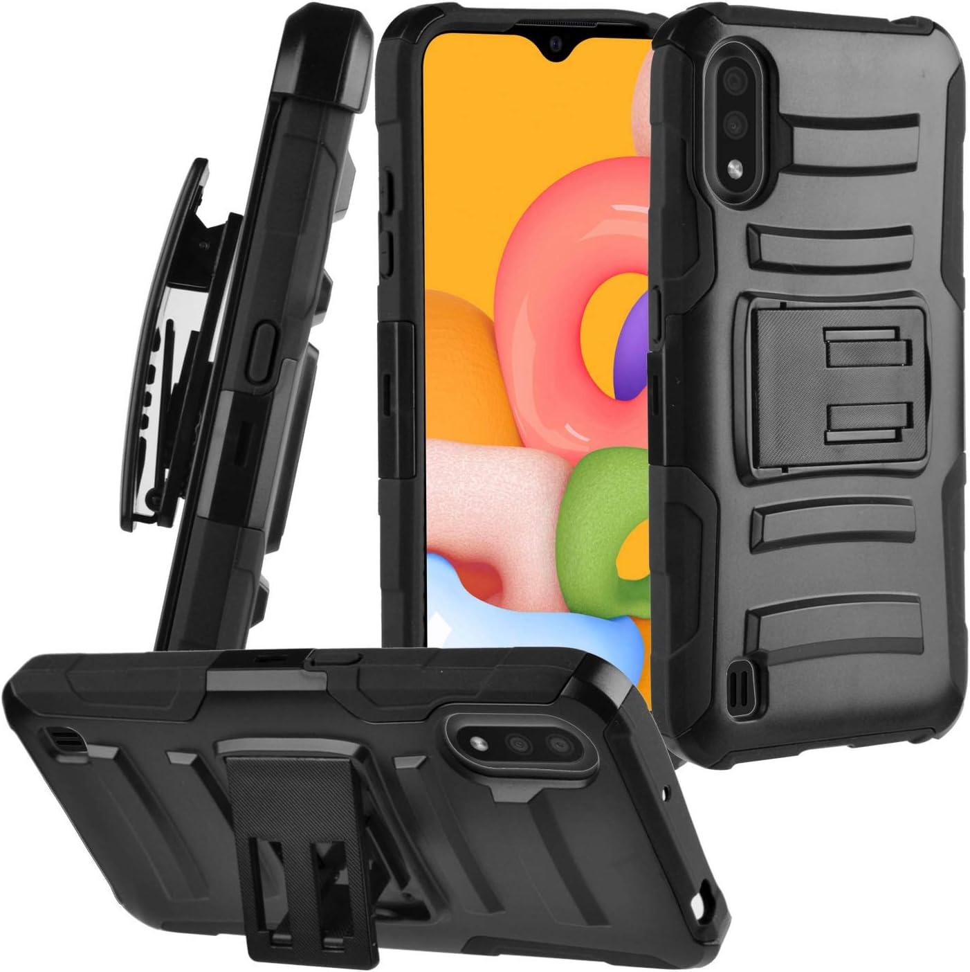 CELZEN - for Samsung Galaxy A01 SM-A015 - Hybrid Phone Case w/Stand/Belt Clip Holster - CV1 Black