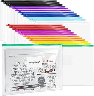 48 Pack Poly Zip Envelopes, A4 Size Plastic Envelopes File Folder with Zipper, Plastic Folders with Label Pocket for Home ...