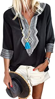 Women's Boho Embroidered V Neck Long Sleeve Casual T-Shirt Tops Loose Blouse
