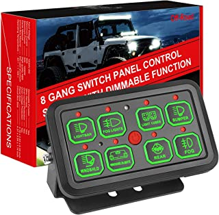 Moso LED 8 Gang Switch Panel Automatic Dimmable, Universal Circuit Control Relay Waterproof System Box Universal Slim Touch Panel with Harness and Label Stickers for Truck Boat ATV UTV SUV Car