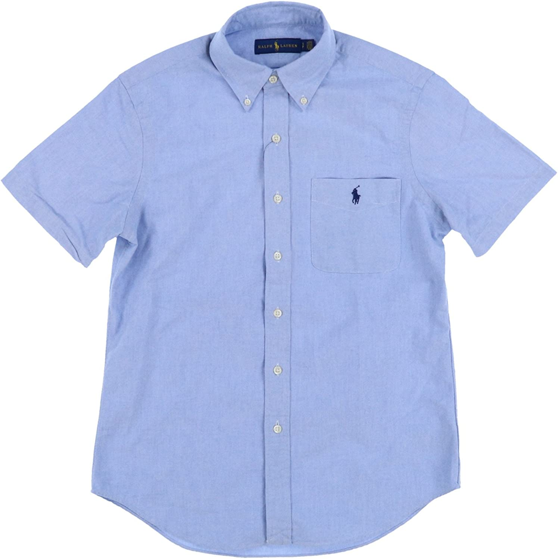 Ralph Lauren Mens Short Sleeve Pocket Oxford Button Up Shirt