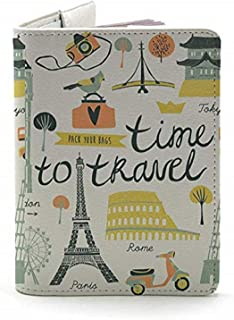 Time To Travel (Both Sides Printed) - White - Wanderlust Collection - Leather Vintage Map - Passport Holder - Travel Accessories