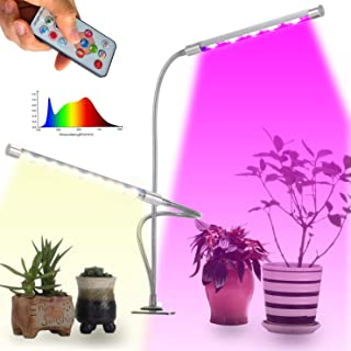 LXKBD Grow Light for Indoor Plants with Remote Control,45W 90 LEDs Full Spectrum Dimmable Growing Lamps, Auto On/Off Plant Grow Lights, Flexible Gooseneck Dual Head for Seeding Flowering