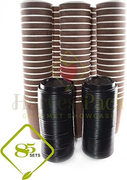 85 SETS 16 Oz Disposable Double Walled Hot Cups With Lids No Sleeves Needed Premium Insulated Ripple Wall Hot Coffee Tea Chocolate Drinks Perfect Travel To Go Paper Cup And Lid Brown Geometric