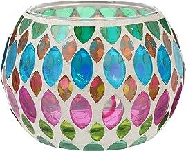 KESYOO Vela de mosaico titular de vidro colorido mesa de castiçal decoração doméstica Decorações para festas