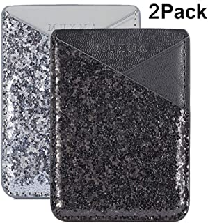 Cell Phone Wallet,Credit Card Holder for Back of Phone Pocket 3M Adhesive Sticker Card Pouch Sleeve for iPhone/Samsung Galaxy/Sony/Android and Most Smartphones,Black/Silver Glitter