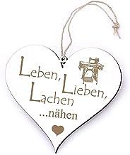 Bord Hart Leben, Lieben, lachen - naaien - met naaimachine gravure - 13 x 12 cm