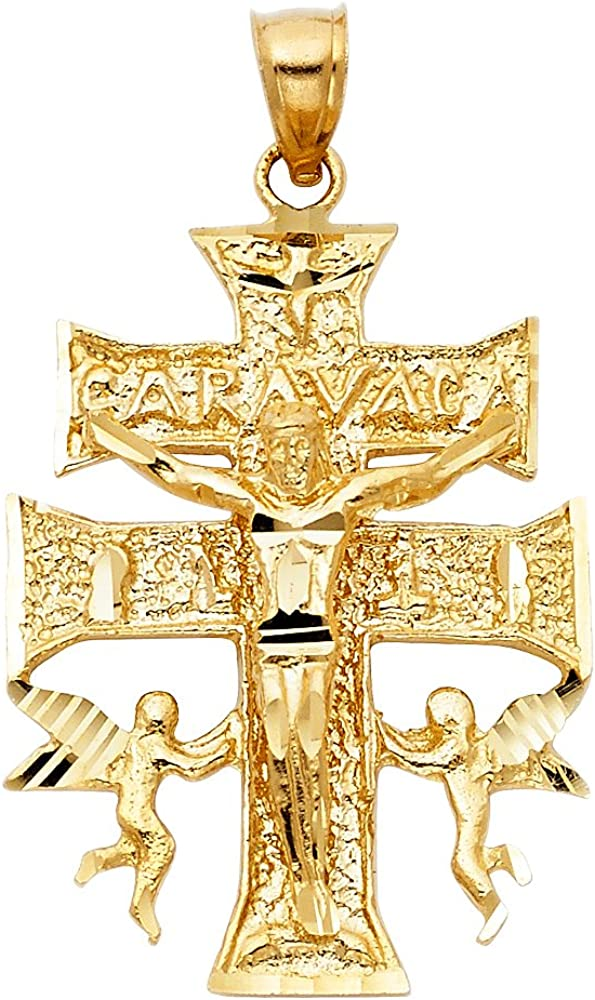Award Jewels By Ranking TOP12 Lux 14K Yellow Gold Christian Cross Crucifix Carava Of