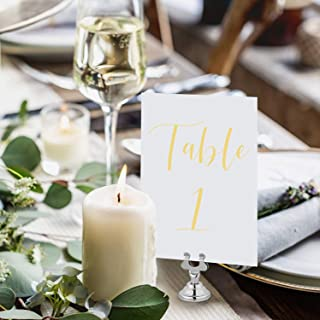 UNIQOOO Yellow Print Table Numbers for Wedding | 4x6 Double Sided Number 1-25 & Head Table Card, Calligraphy Design | Ideal Table Sign for Banquet Dinner Party | Pack of 26 (NOT Gold FOIL)