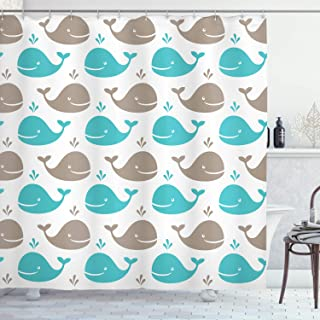 Ambesonne Sea Animals Shower Curtain, Pattern Smiling Whale Cartoon Repeated Design Children Illustration, Cloth Fabric Bathroom Decor Set with Hooks, 84