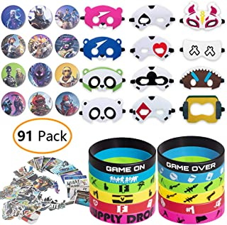 DMIGHT Birthday Party Supplies for Game Fans, 91 pcs Gaming Theme Party Toy Set - Include 12 Pcs Masks, 12 Pcs Silicone Bracelets, 12 Pcs Button Pins, 55 Pcs Stickers