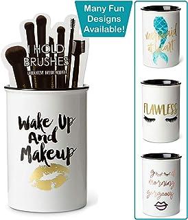 "Tri-coastal Design Ceramic Makeup Brush Holder Storage""Wake Up and Makeup"".."