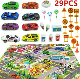 Kids Carpet Playmat City Life Road Playmat Toy ,Alloy Racing Car with City Game Mat,Children's Educational Parking Lot with Traffic Signs,Multi Color Activity Centerpieg with Cars for Bedroom Playroom