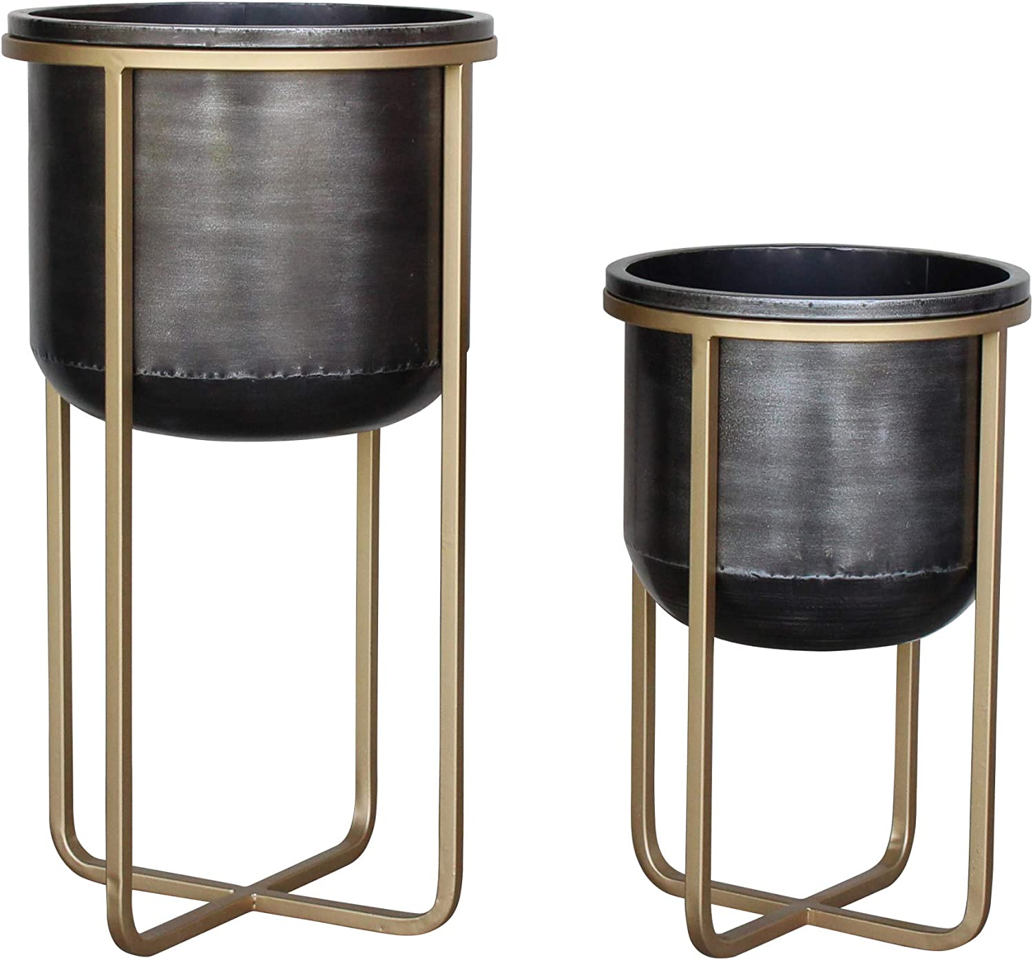 Aspire Rizzy Mid Century 35% OFF Planters 2 Chicago Mall Set of Black