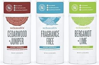 Schmidt's Deodorant Stick Variety Pack (Cedarwood & Juniper, Fragrance-Free, Bergamot & Lime)