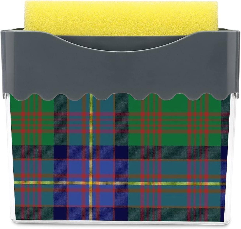 Dispensador de jabón para platos con soporte de esponja 2 en 1, soporte de esponja líquida para fregadero, fregadero, cocina, lavavajillas, cochrane, tartán, verde y azul