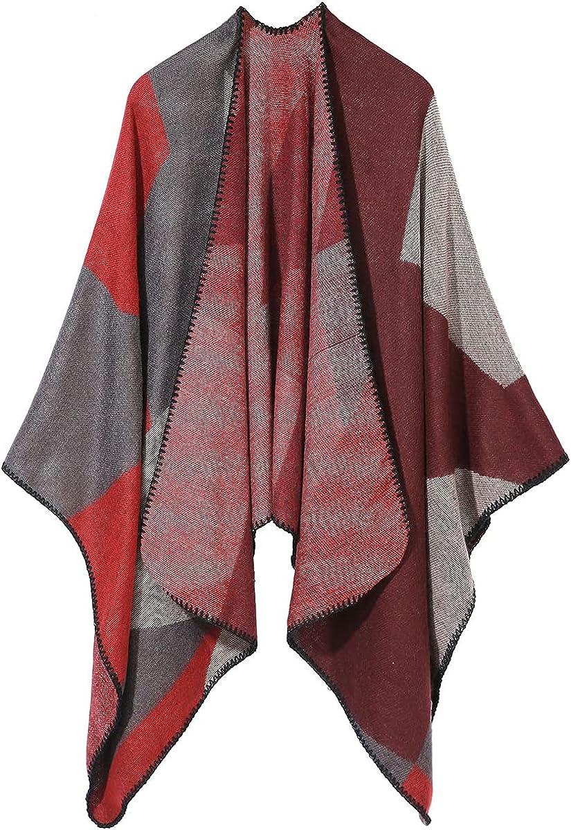 Cardigan Poncho For Women, Womens Winter Warm Cardigan Block Shawl Wrap Plus Size Open Front Long Winter Sweater Coat