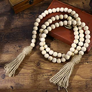 LIOOBO Vintage Wood Bead Garland with Tassels Farmhouse Beads Rustic Country Decor