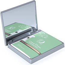 Makeup Mirror with Facial Oil Blotting Paper Sheets – Green Tea 100 Counts, Silver Compact Folding Cosmetic Travel Mirror