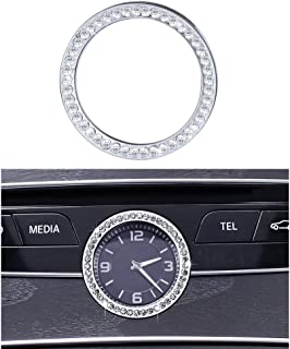 1797 Mercedes Accessories Benz Parts Trim Clock Round Center Console Panel Caps Covers Decals Stickers Interior Visors Decorations W205 W213 C217 C E S Class AMG Women Men Bling Crystal 3M Silver