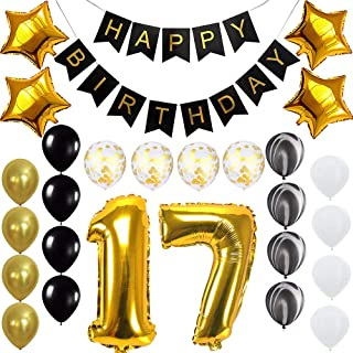 Happy 17th Birthday Banner Balloons Set for 17 Years Old Birthday Party Decoration Supplies Gold Black