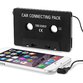 Insten Car Audio Cassette Tape Adapter Compatible with Samsung Galaxy S10/S10 Plus/S10e/S9/S9+/S8/S8+/S7 Edge/Apple iPhone 7/7 Plus/iPad Mini 3 / iPad Air 2 / iPod? / Sony MP3 CD